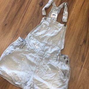 Distressed Denim overalls